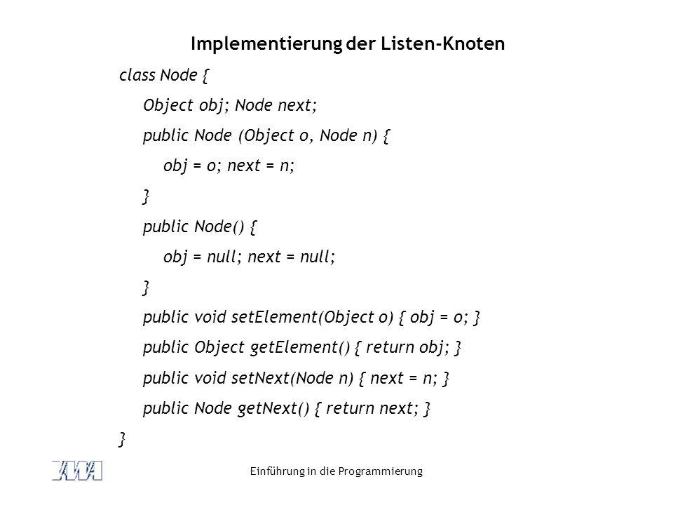 Implementierung der Listen-Knoten