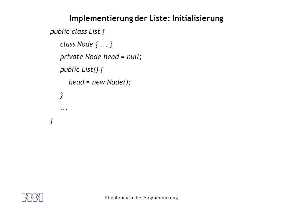 Implementierung der Liste: Initialisierung