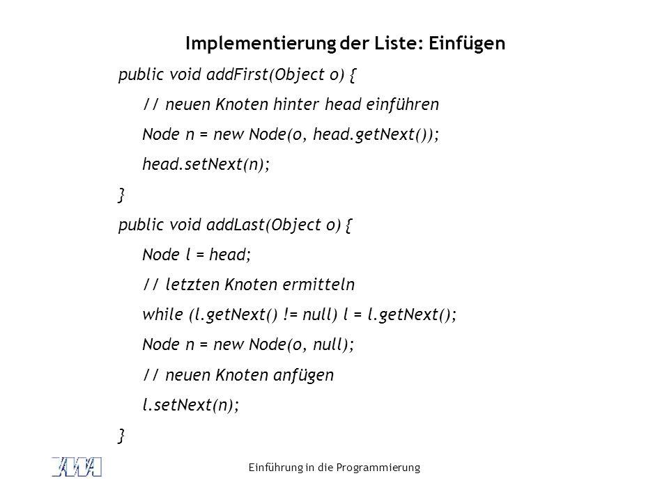 Implementierung der Liste: Einfügen