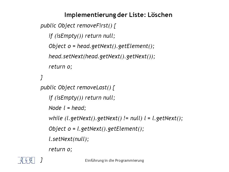 Implementierung der Liste: Löschen