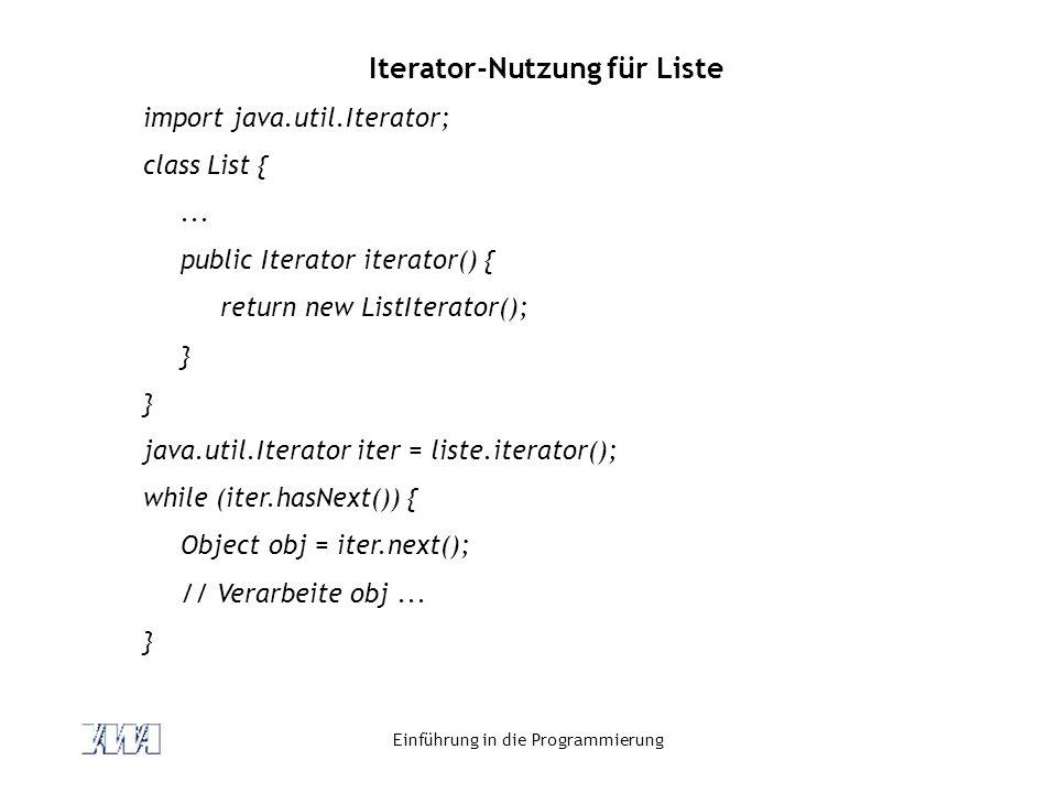 Iterator-Nutzung für Liste