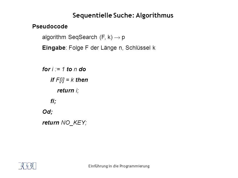 Sequentielle Suche: Algorithmus