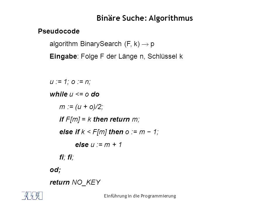 Binäre Suche: Algorithmus