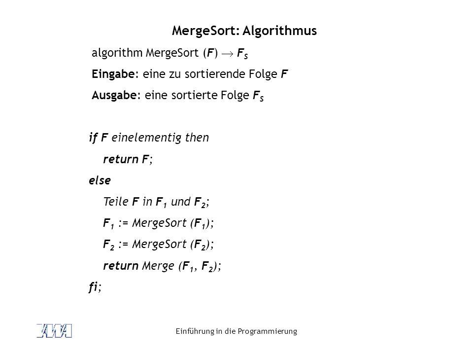 MergeSort: Algorithmus