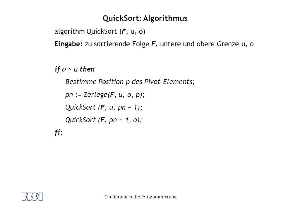 QuickSort: Algorithmus