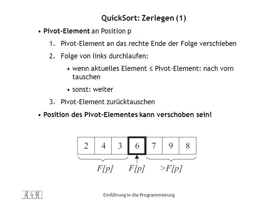 QuickSort: Zerlegen (1)