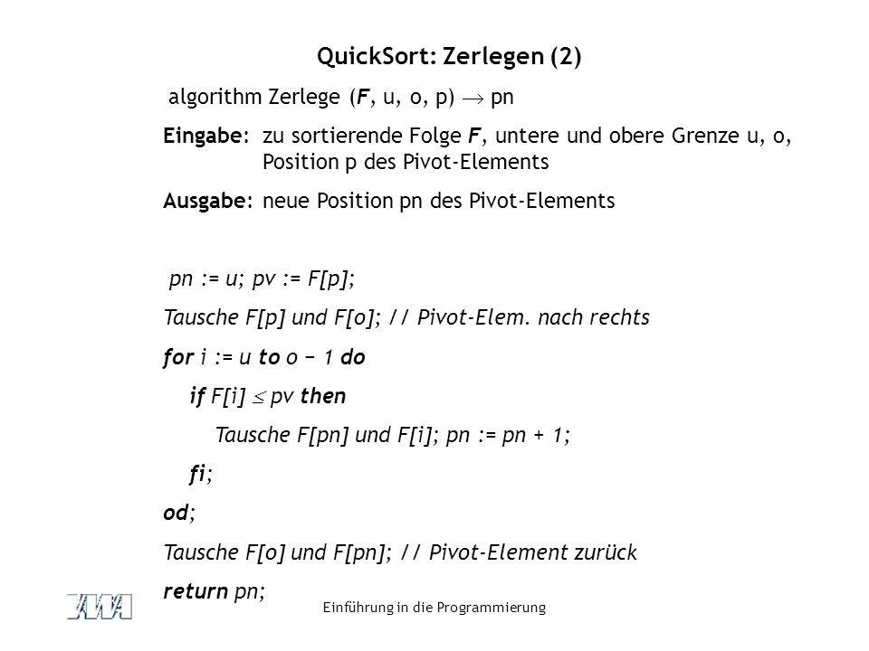 QuickSort: Zerlegen (2)