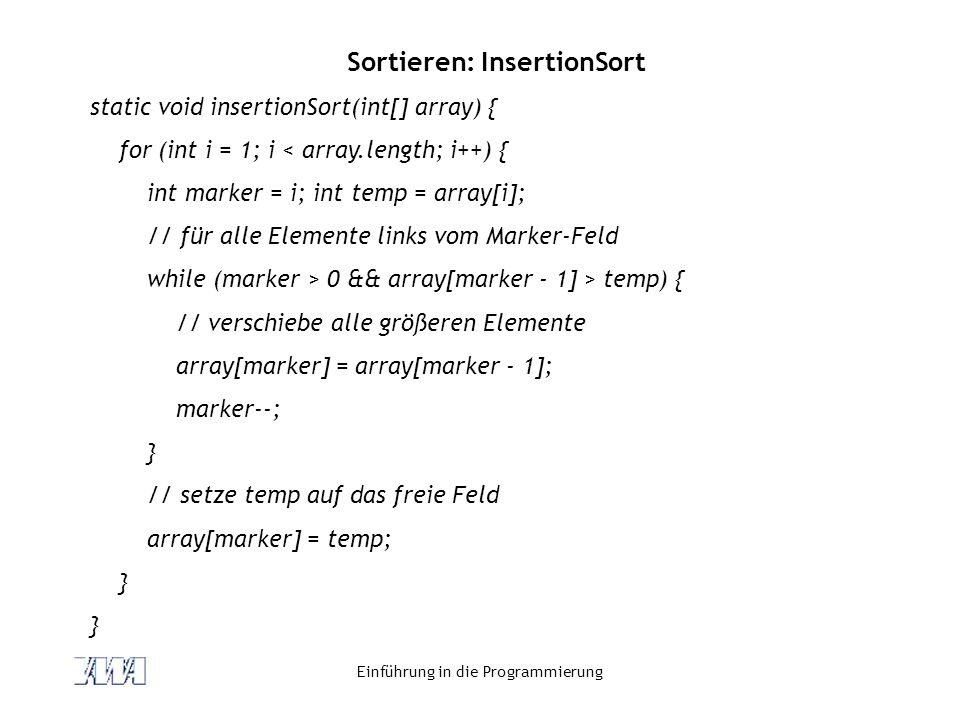 Sortieren: InsertionSort