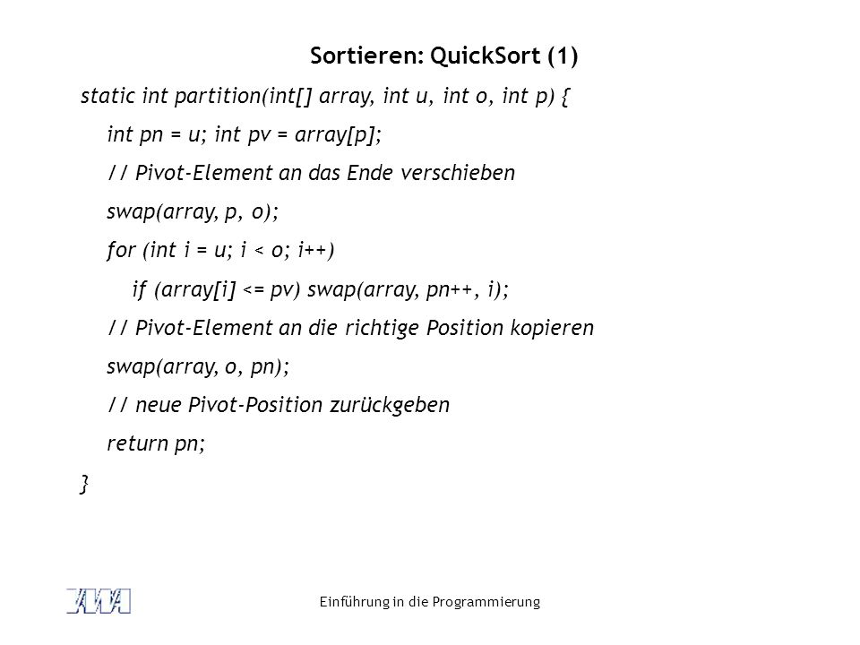 Sortieren: QuickSort (1)