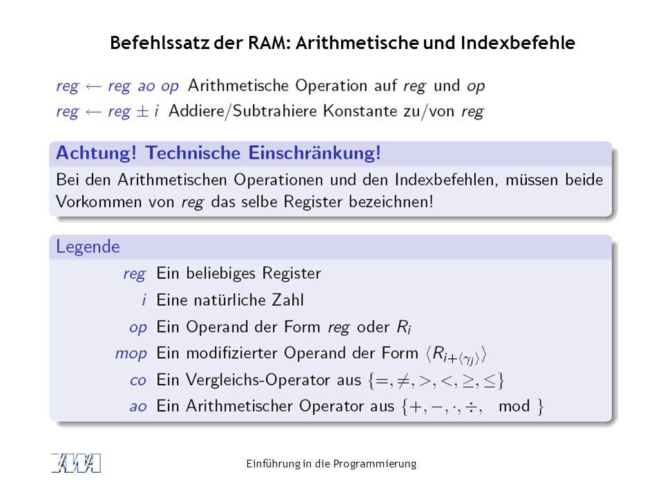 Befehlssatz der RAM: Arithmetische und Indexbefehle