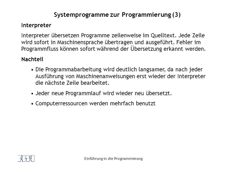 Systemprogramme zur Programmierung (3)