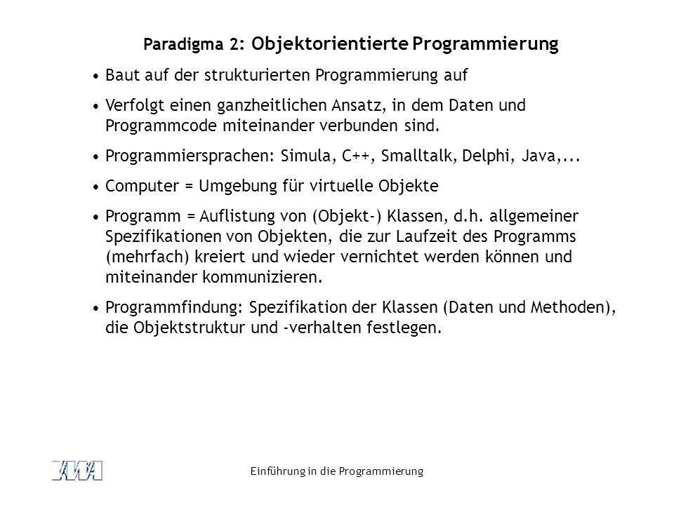 Paradigma 2: Objektorientierte Programmierung