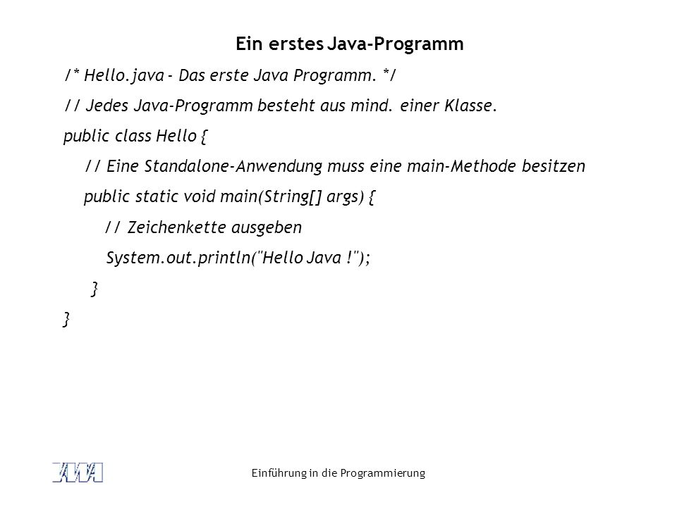 Ein erstes Java-Programm