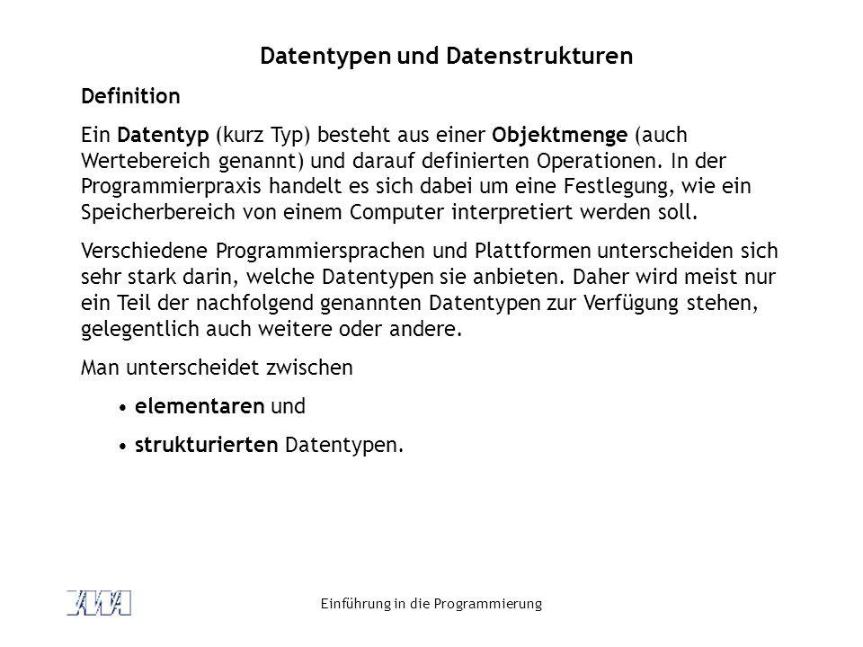 Datentypen und Datenstrukturen