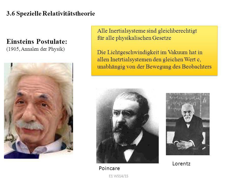 Einsteins Postulate: 3.6 Spezielle Relativitätstheorie