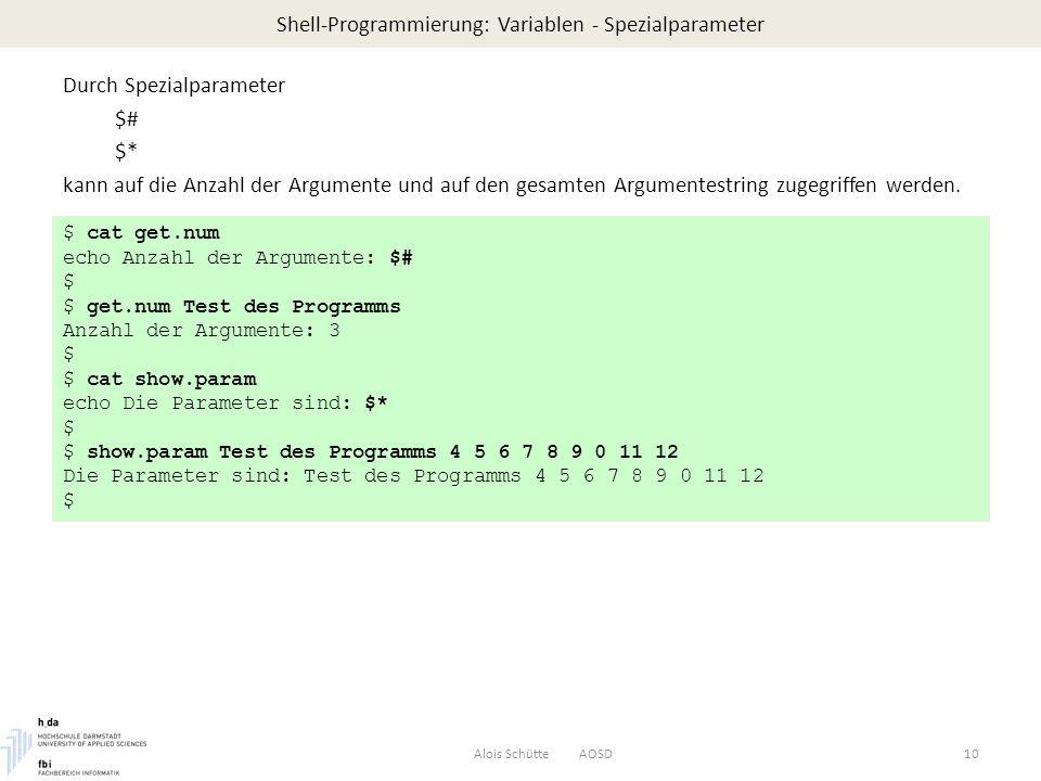 Shell-Programmierung: Variablen - Spezialparameter