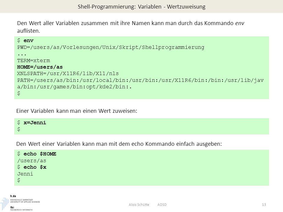 Shell-Programmierung: Variablen - Wertzuweisung