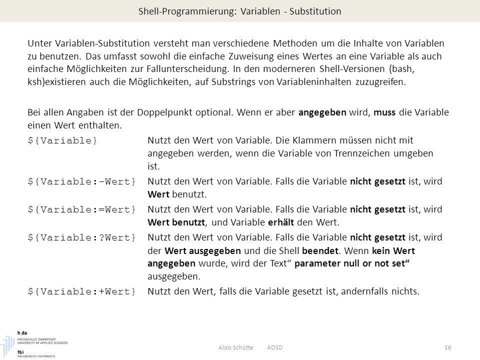Shell-Programmierung: Variablen - Substitution