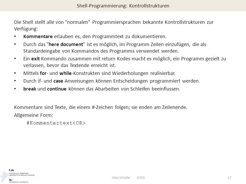 Shell-Programmierung: Kontrollstrukturen