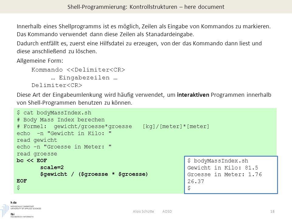 Shell-Programmierung: Kontrollstrukturen – here document