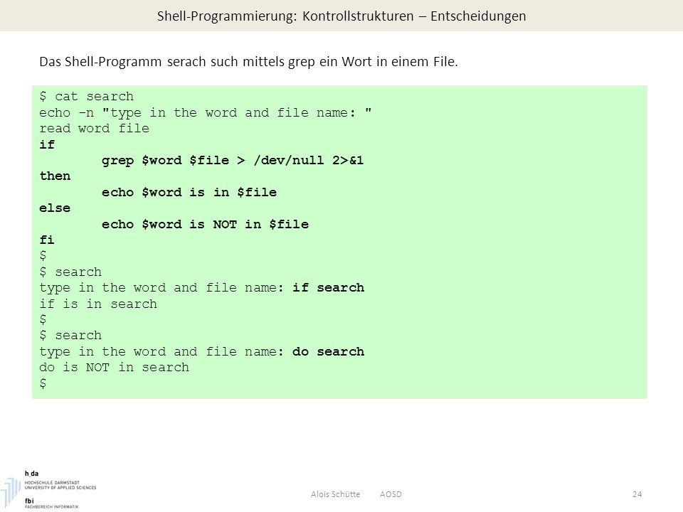 Shell-Programmierung: Kontrollstrukturen – Entscheidungen