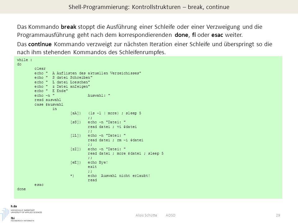 Shell-Programmierung: Kontrollstrukturen – break, continue