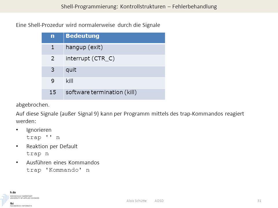 Shell-Programmierung: Kontrollstrukturen – Fehlerbehandlung