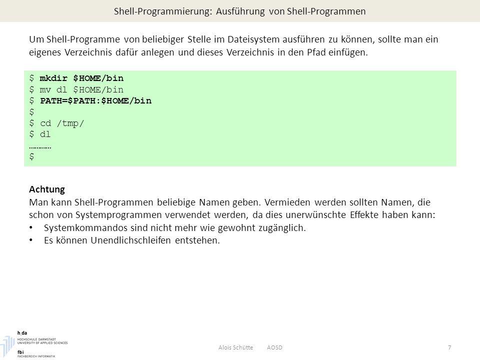 Shell-Programmierung: Ausführung von Shell-Programmen