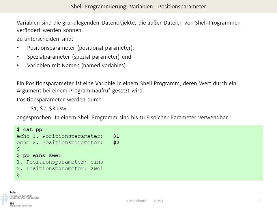 Shell-Programmierung: Variablen - Positionsparameter