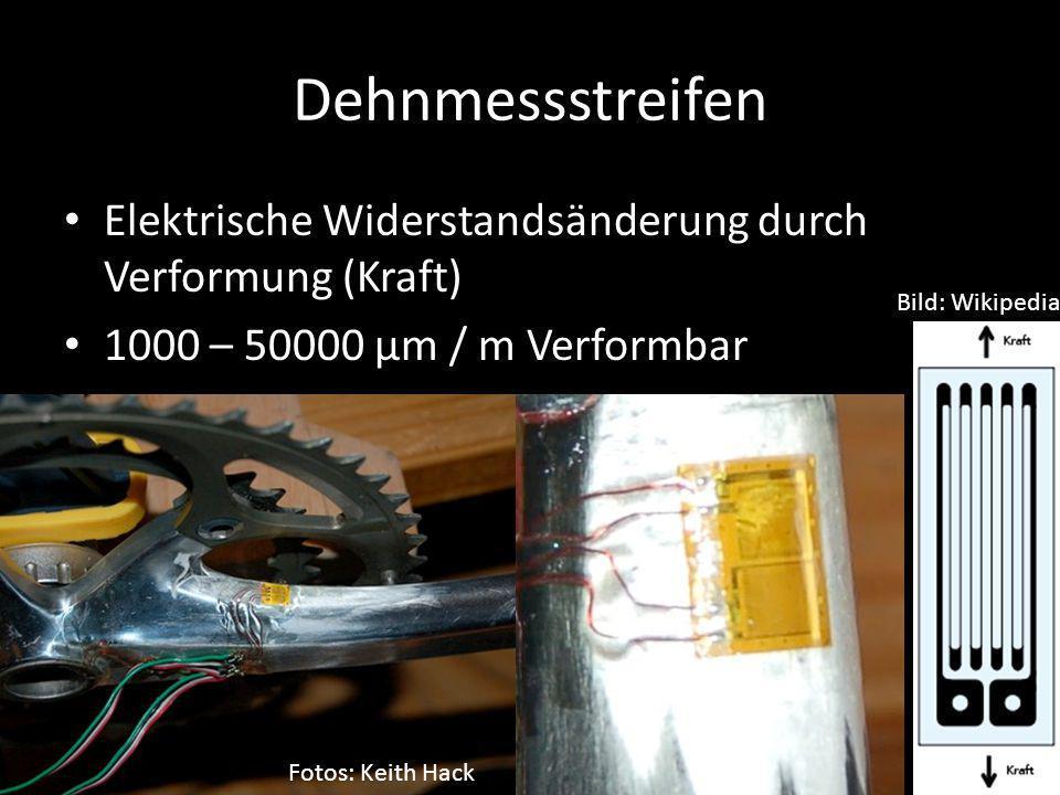 Dehnmessstreifen Elektrische Widerstandsänderung durch Verformung (Kraft) 1000 – 50000 µm / m Verformbar.