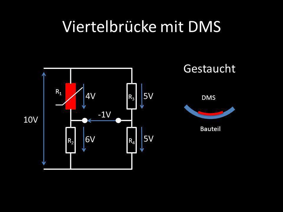 Viertelbrücke mit DMS Gestaucht 4V 5V -1V 10V 6V 5V R1 R3 DMS Bauteil