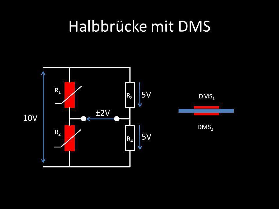 Halbbrücke mit DMS R1 5V R3 DMS1 ±2V 10V DMS2 R2 5V R4