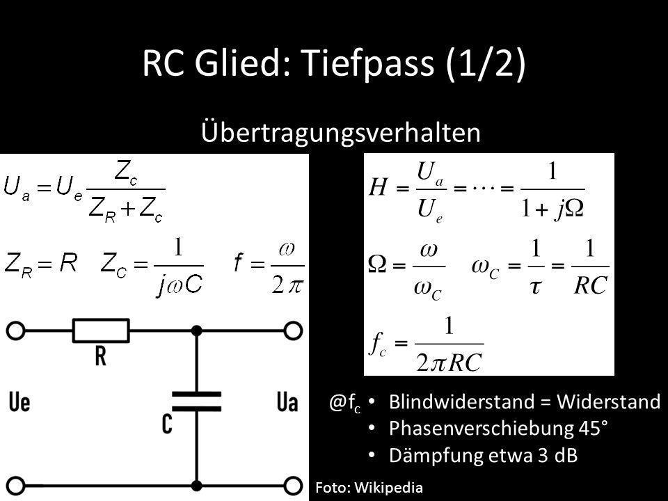 RC Glied: Tiefpass (1/2) Übertragungsverhalten @fc