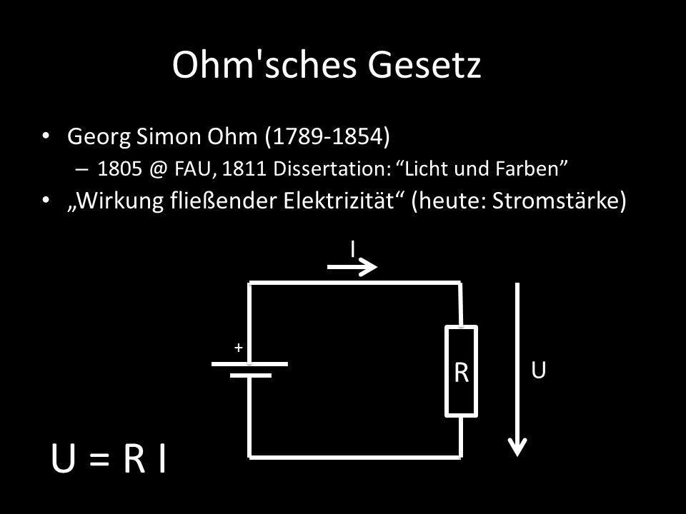U = R I Ohm sches Gesetz R I U Georg Simon Ohm (1789-1854)