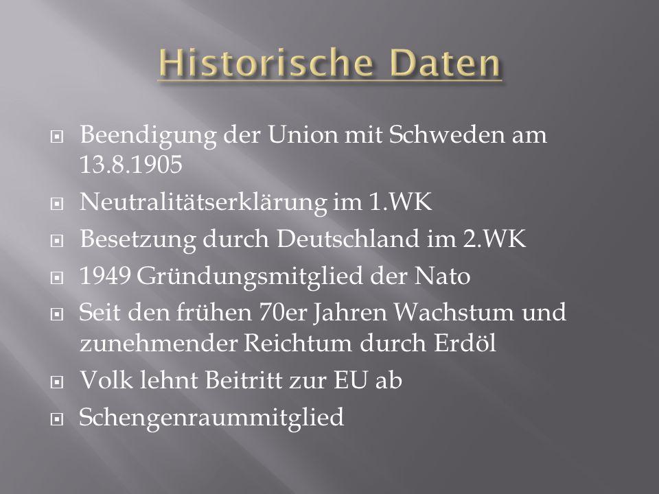 Historische Daten Beendigung der Union mit Schweden am 13.8.1905