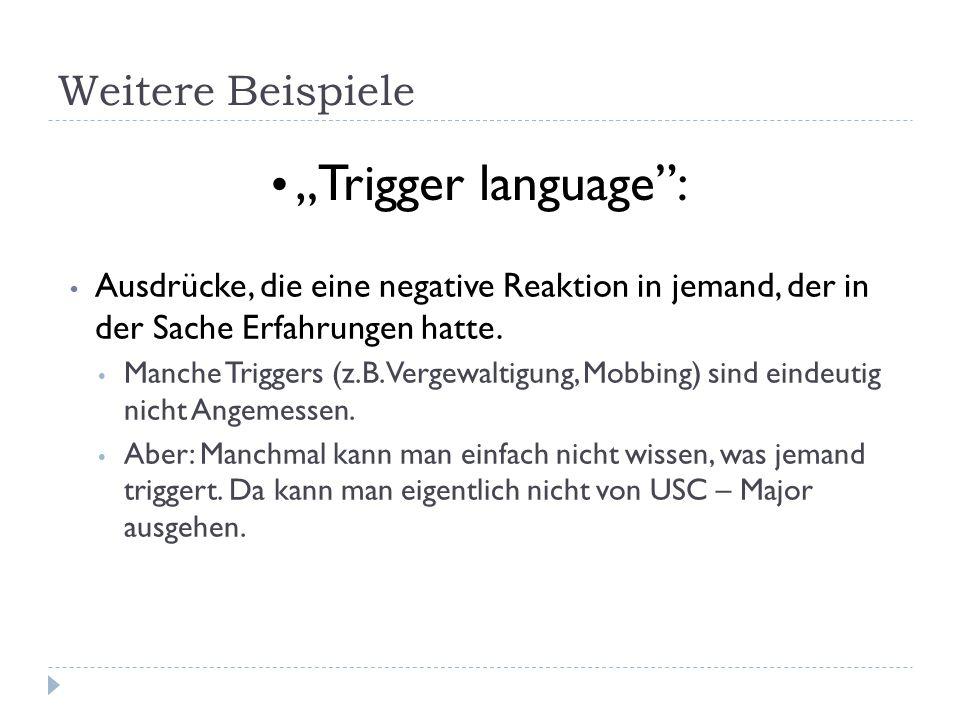 """""""Trigger language : Weitere Beispiele"""