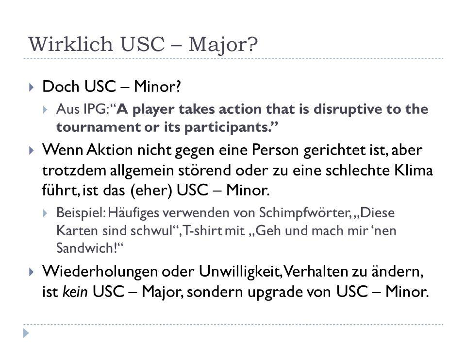 Wirklich USC – Major Doch USC – Minor
