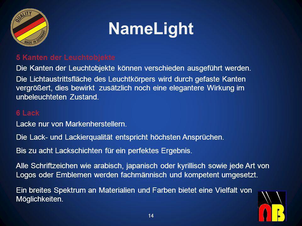 NameLight 5 Kanten der Leuchtobjekte