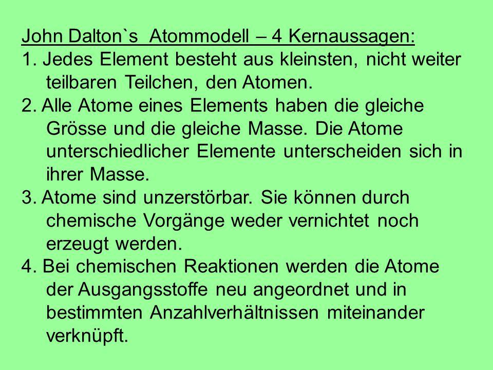 John Dalton`s Atommodell – 4 Kernaussagen: