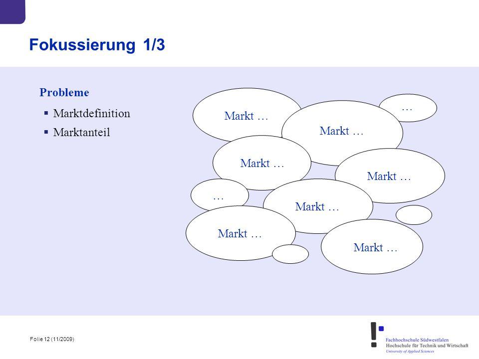 Fokussierung 1/3 Probleme … Marktdefinition Markt … Marktanteil
