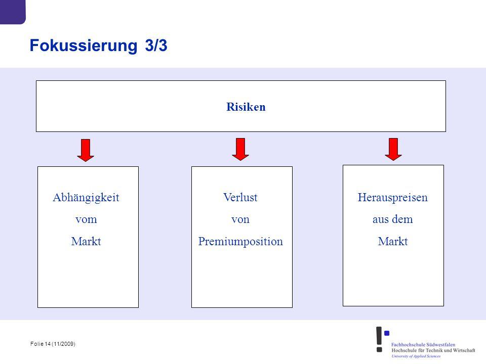 Fokussierung 3/3 Risiken Abhängigkeit vom Markt Verlust von