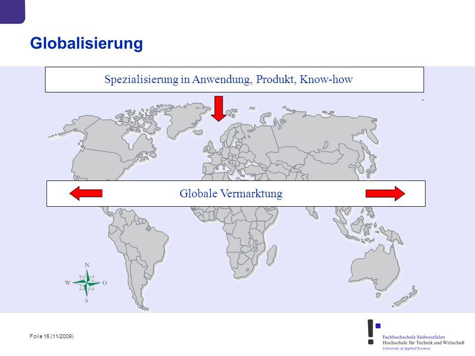 Globalisierung Spezialisierung in Anwendung, Produkt, Know-how