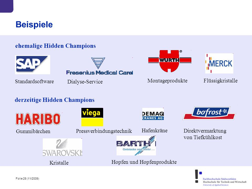 Beispiele ehemalige Hidden Champions derzeitige Hidden Champions