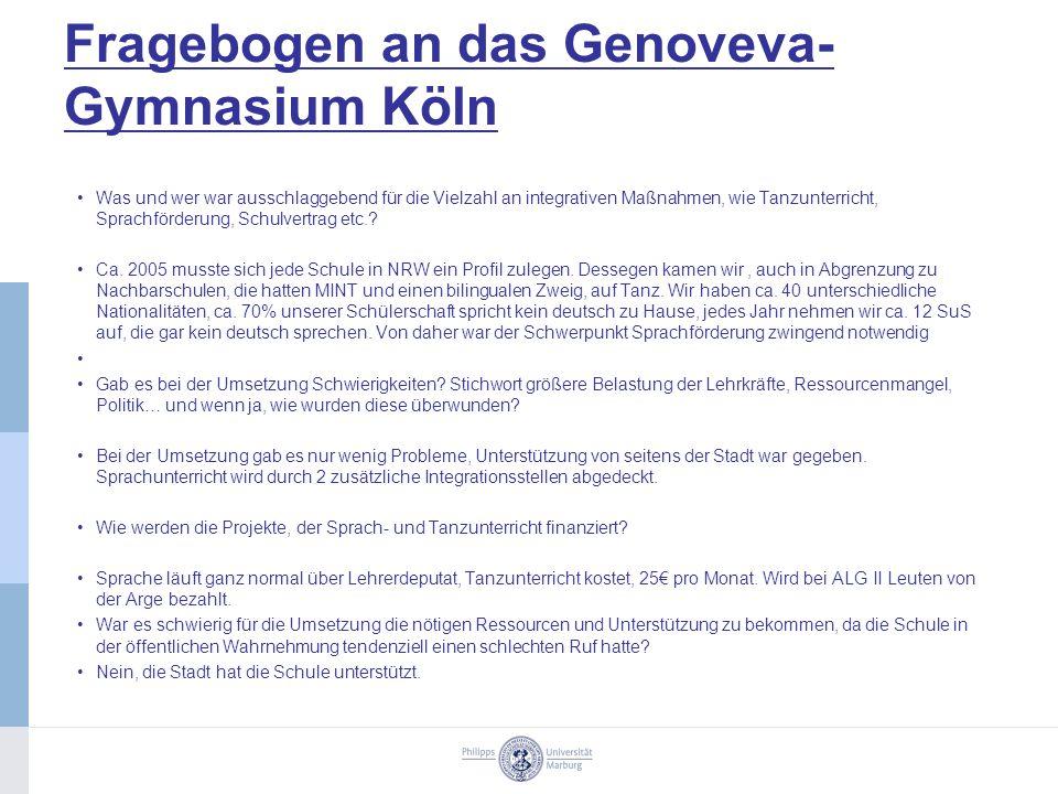 Fragebogen an das Genoveva-Gymnasium Köln