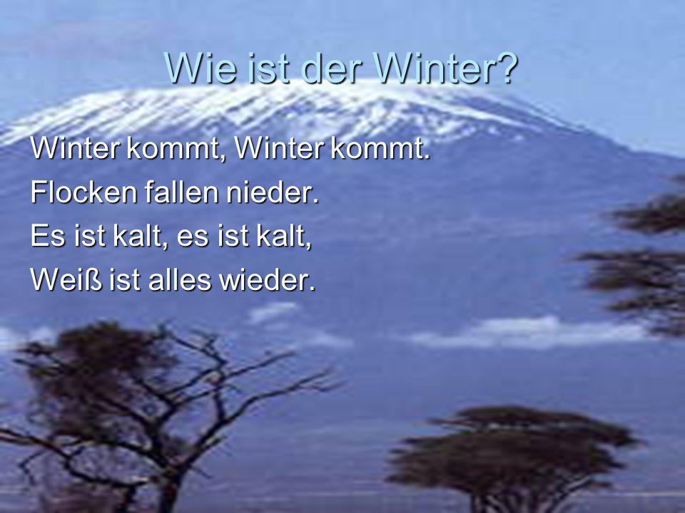 Wie ist der Winter Winter kommt, Winter kommt. Flocken fallen nieder.