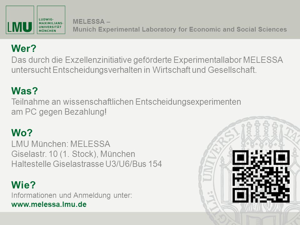 MELESSA – Munich Experimental Laboratory for Economic and Social Sciences. Wer
