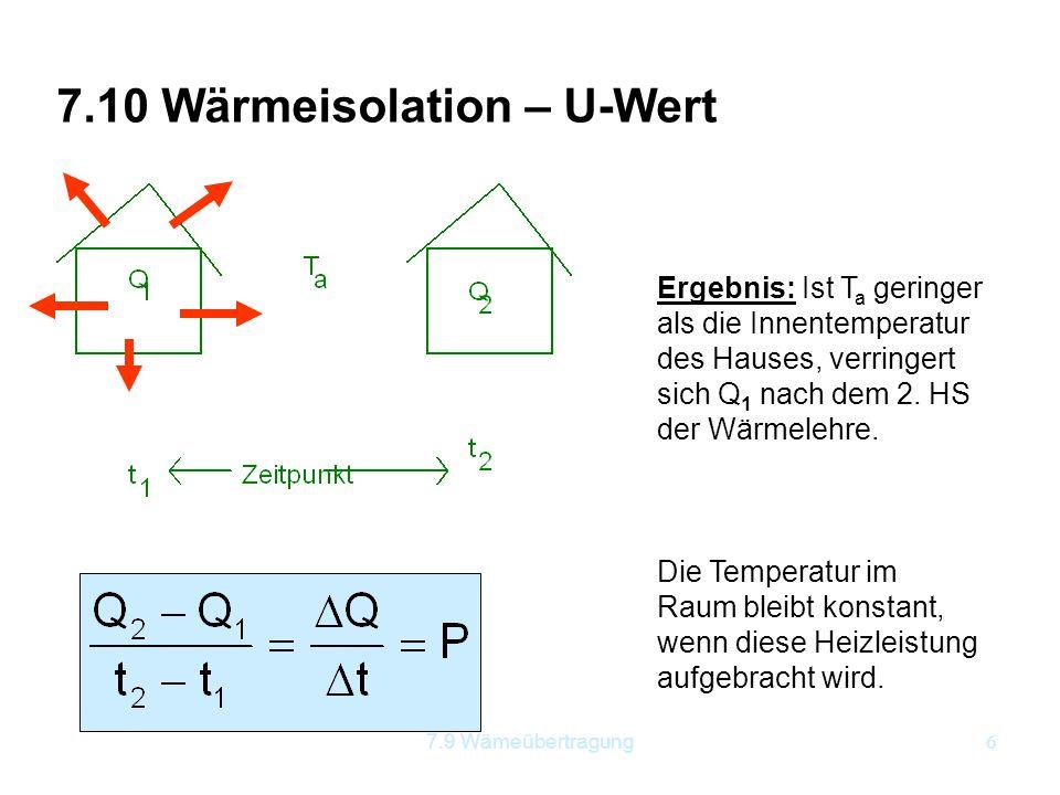 7.10 Wärmeisolation – U-Wert