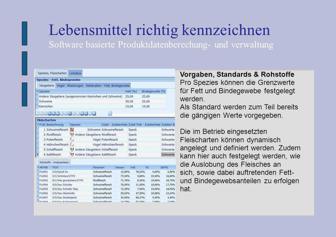 Lebensmittel richtig kennzeichnen Software basierte Produktdatenberechung- und verwaltung