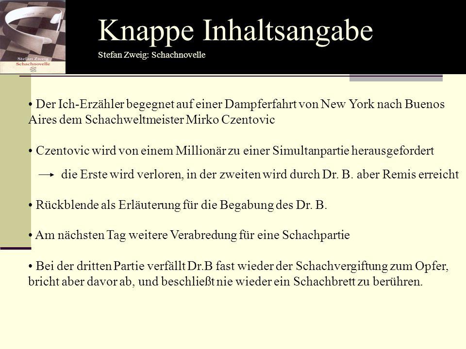 Knappe Inhaltsangabe Stefan Zweig: Schachnovelle.