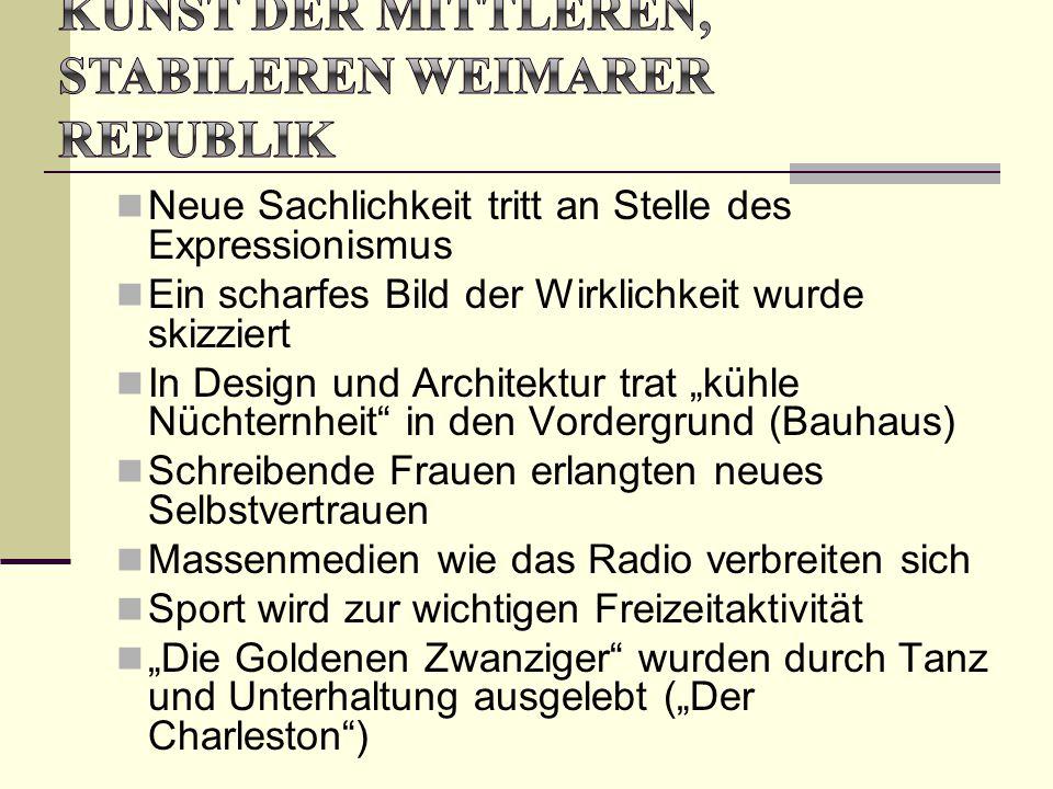 Kunst der mittleren, stabileren Weimarer Republik